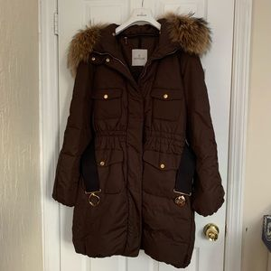 Authentic MONCLER Melbourne Belted Coat with Fur